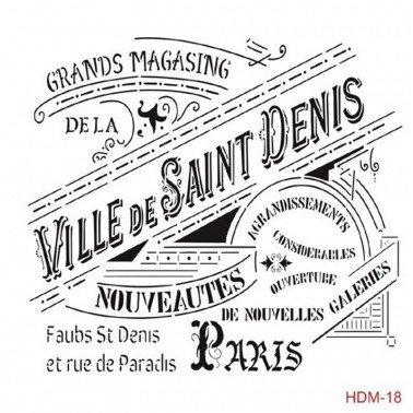 Plantilla Stencil VILLE DE SAINT DENIS CADENCE 25x25 cm.