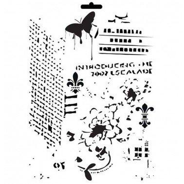 Stencil mix media MIX DE FONDOS CADENCE 21 x 30 cm.
