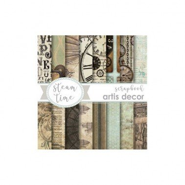 COLECCION PAPEL SCRAP 6X6 ARTIS DECOR STEAM TIME, 16 HOJAS.