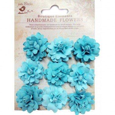 Flores de papel Boutique Elements - ROSAS TURQUESA 9 flores 3,5 cm.