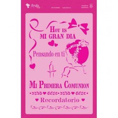 Plantilla Stencil HOY ES MI GRAN DIA Amelie Prager 20 x 30 cm.