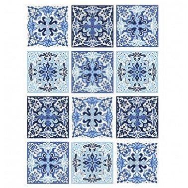Papel de arroz decorado TILES BALDOSAS AZUL CADENCE, 30 x 41 cm.