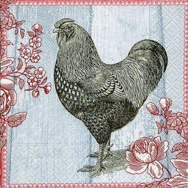 Servilletas para decoupage Painted rooster 33 X 33 cm.