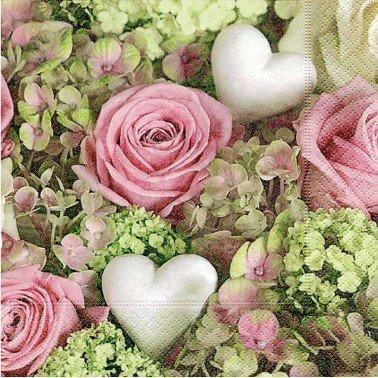 Servilletas para decoupage White hearts in roses 33 X 33 cm.