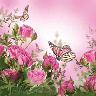 Servilletas para decoupage Roses & Butterflies 33 X 33 cm.