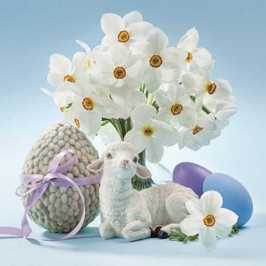 Servilletas para decoupage Lamb & Narcissus 33 X 33 cm.