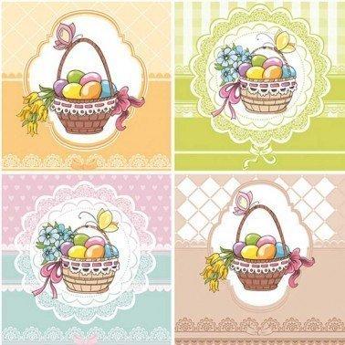 Servilletas para decoupage Four Easter Baskets 33 X 33 cm.