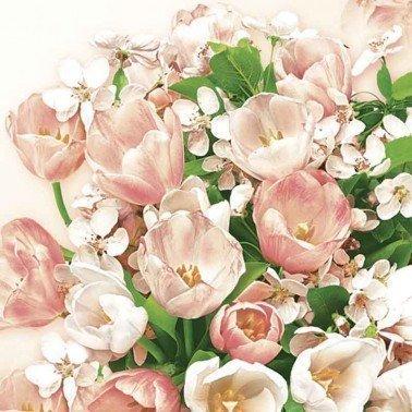 Servilletas para decoupage Pink Tulips & Cherry Blossom 33 X 33 cm.
