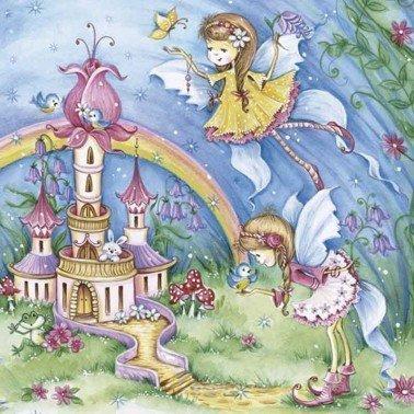 Servilletas para decoupage Magic Fairies with Castle 33 X 33 cm.