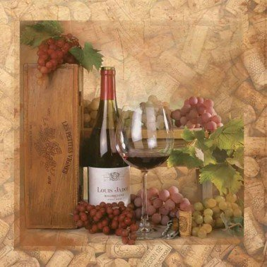 Servilletas para decoupage Wine and Corks 33 X 33 cm.