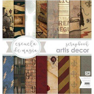 """COLECCION PAPEL SCRAP 12X12"""" ARTIS DECOR """"ESCUELA DE MAGIA"""" 17 HOJAS"""