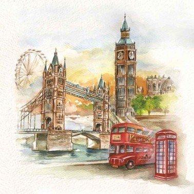 Servilletas para decoupage London in Watercolour 33 X 33 cm.
