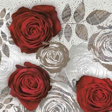 Servilletas para decoupage Red Roses with Floral 33 X 33 cm.
