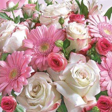 Servilletas para decoupage Gerberas & White Roses 33 X 33 cm.