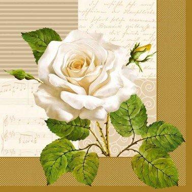Servilletas para decoupage White Rose 33 X 33 cm.