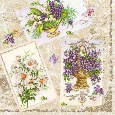 Servilletas para decoupage Violets from the Postcard 33 X 33 cm.