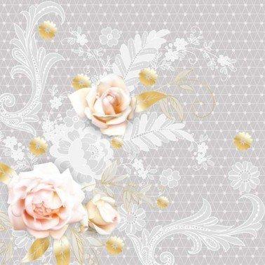 Servilletas para decoupage Graphic Grey Lace with Roses 33 X 33 cm.