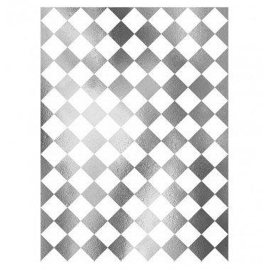 Papel de arroz decorado Fondo PLATA DAMERO CADENCE, 30 x 41 cm.