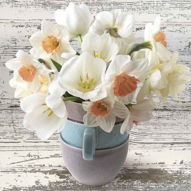 Servilletas para decoupage Cup Full of White Daffodils 33 X 33 cm.