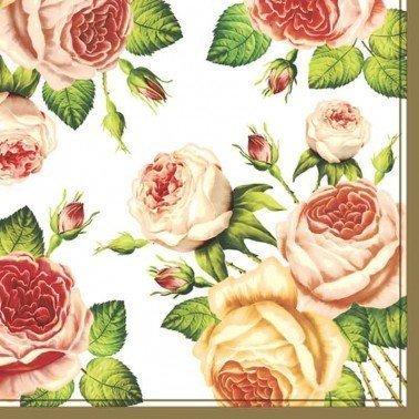 Servilletas para decoupage Tea Roses White 33 X 33 cm.