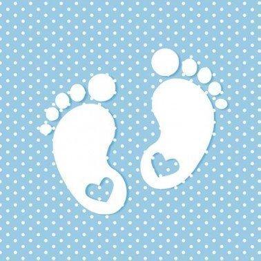 Servilletas para decoupage Little Feet Blue 33 X 33 cm.