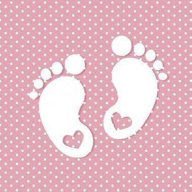 Servilletas para decoupage Little Feet Pink 33 X 33 cm.