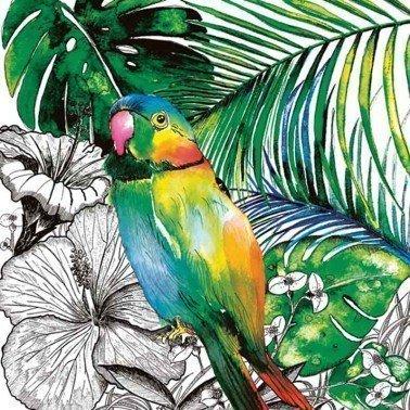Servilletas para decoupage Jungle Parrot 33 X 33 cm.
