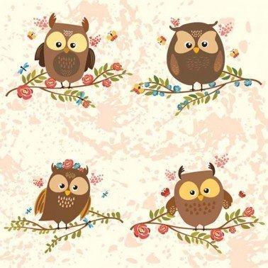 Servilletas para decoupage Brown Owls on Twigs 33 X 33 cm.