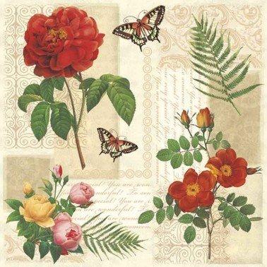 Servilletas para decoupage Flowers and Butterflies 33 X 33 cm.