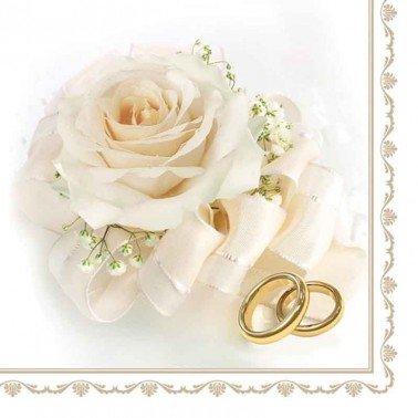 Servilletas para decoupage Wedding Rings & White Rose 33 X 33 cm.