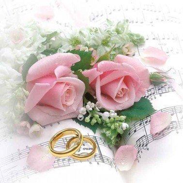 Servilletas para decoupage Wedding Rings & Pink Roses 33 X 33 cm.