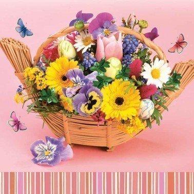 Servilletas para decoupage Colourful Bouquet in a Basket 33 X 33 cm.