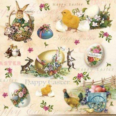 Servilletas para decoupage Happy Easter Animals 33 X 33 cm.