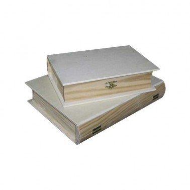 Caja de madera en forma de libro pequeña 20x15x5 cm.