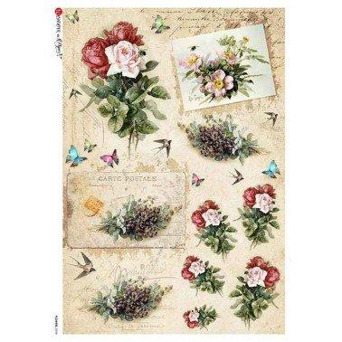 Papel de arroz para decoupage A4 Paper Designs Flores 0334.