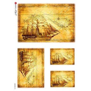 Papel de arroz para decoupage A4 Paper Designs Mapas viejos 0003.