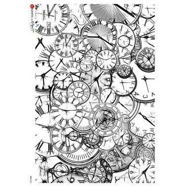 Papel de arroz para decoupage A4 Paper Designs Relojes 0003.