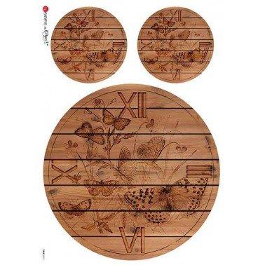 Papel de arroz para decoupage A4 Paper Designs Relojes 0012.