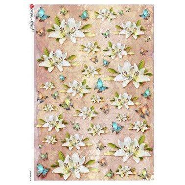 Papel de arroz para decoupage A4 Paper Designs Flores 0328.