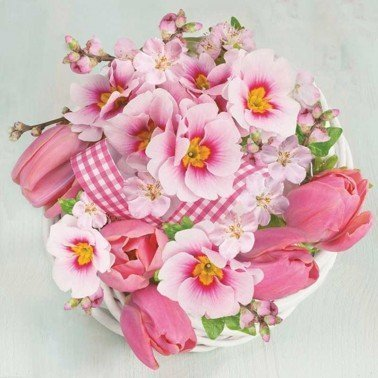 Servilletas para decoupage Pink Bunch in Wreath 33 X 33 cm.