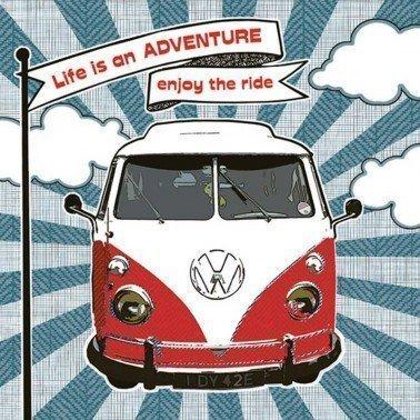 Servilletas para decoupage Enjoy Hippie Ride 33 X 33 cm.
