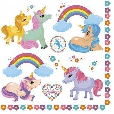 Servilletas para decoupage Rainbow Ponies 33 X 33 cm.