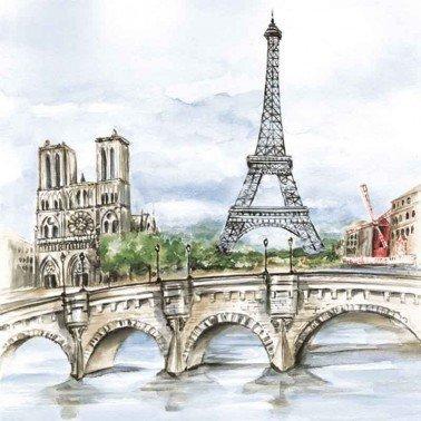Servilletas para decoupage Paris in Watercolour 33 X 33 cm.
