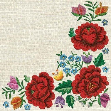 Servilletas para decoupage Poppy Embroidery Border 33 X 33 cm.