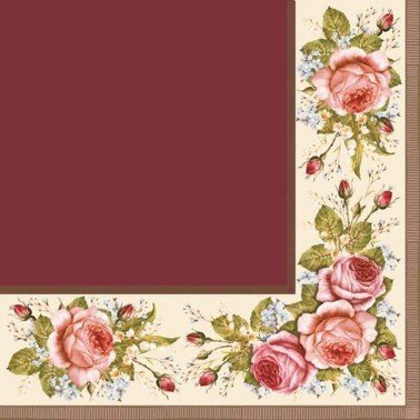 Servilletas para decoupage Vintage Roses Claret 33 X 33 cm.