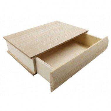 Caja libro con apertura lateral tipo cajón, 25x18x6 cm