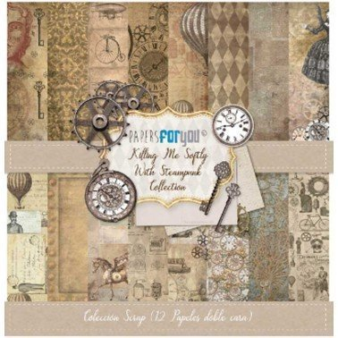 COLECCIÓN 12 PAPELES SCRAP KILLING ME SOFTLY WITH STEAMPUNK PAPERS FOR YOU