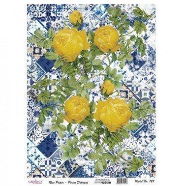 Papel de arroz decorado COLLAGE FLORES 729 CADENCE, 30 x 41 cm.
