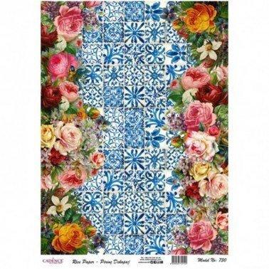 Papel de arroz decorado COLLAGE FLORES 730 CADENCE, 30 x 41 cm.