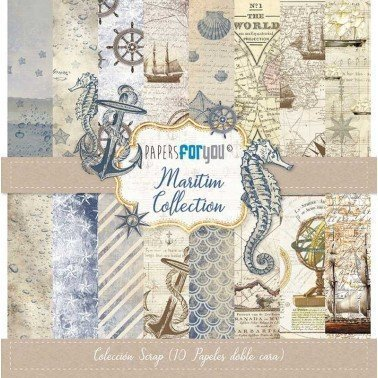 COLECCIÓN 10 PAPELES SCRAP MARITIM PAPERS FOR YOU